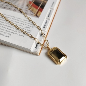 Image 5 - LouLeur 925 sterling silver Square Mirror necklace gold glossy elegant texture pendant necklace for women fashionable jewelry