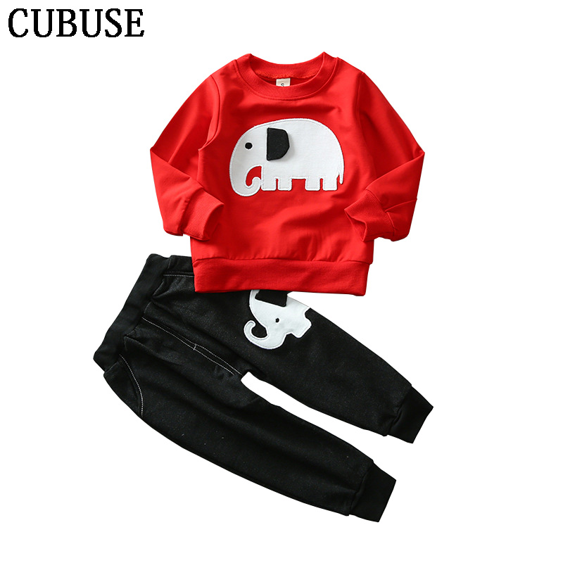 Spring baby boy clothes sets cartoon Tracksuit casual kids suits infant girl baby clothing set 2pcs Elephant T shirt+ Jeans