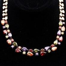 Hermosa ювелирные изделия multi перидот гранат розовое золото ожерелья 20 дюймов регулируемые
