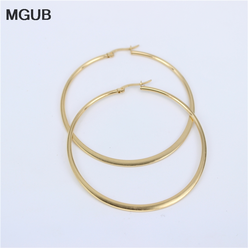 MGUB Gold color 316L stainless steel popular earrings lentils 55mm men and women selling hot jewelry special sale LH311