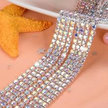 5 ярдов/шт Кристалл AB стекло Кристалл пришить стразы на цепочке серебристое дно Diy аксессуары для одежды SIJISHUIZUAN