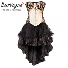 Burvogue Women Steampunk Corsets Dress Vintage Bustier Top Gothic Overbust Corset Dress Waist Corset Sexy Lace Waist Trainer