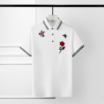 Summer Mens T-shirts Luxury Flower Embroidery Short Sleeve Mens T-shirts Plus Size 3XL 4XL Solid Color Slim Fit Man T-shirts