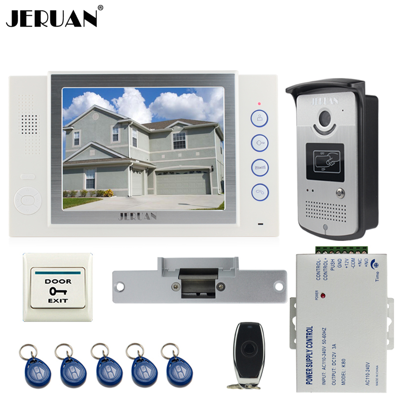 JERUAN Home luxury 8 inch TFT video door phone Record intercom system kit 700TVL RFID Access IR Night Vision Camera 8GB SD CARD jeruan 8 inch tft video door phone record intercom system new rfid waterproof touch key password keypad camera 8g sd card e lock