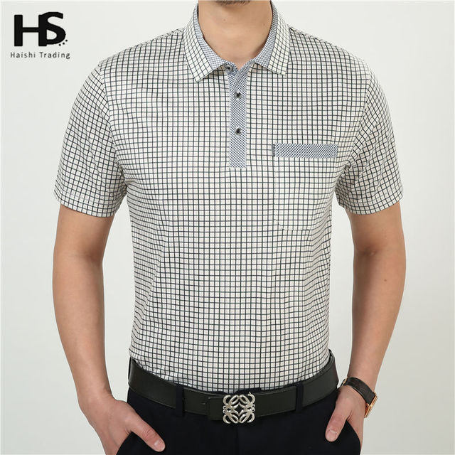 HS Summer Short Sleeve Casual T Shirt Men 100% Cotton Plaid T-Shirts With Pocket Brand Clothing Plus Size Factory Wholesale 2227