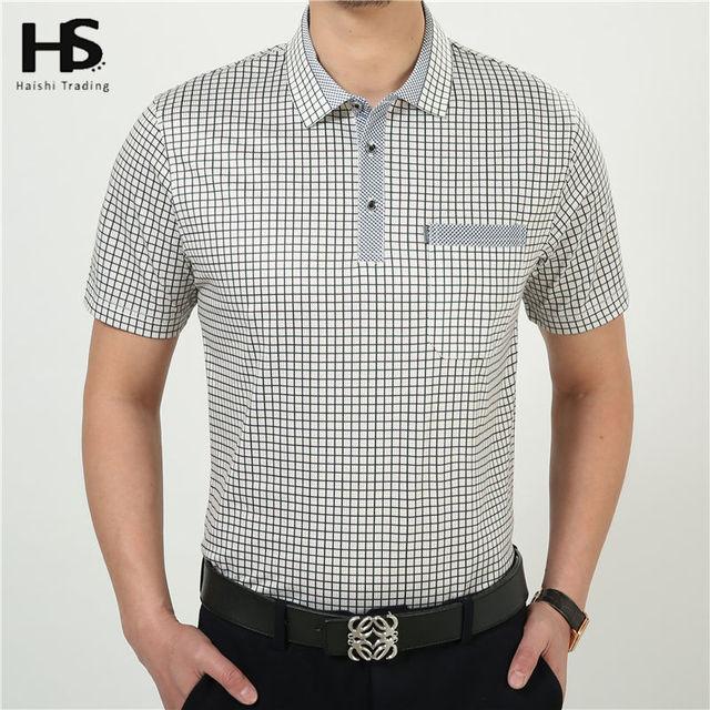 HS Verão Ocasional de Manga Curta Camisa de T Dos Homens 100% Algodão T-Shirts Com Bolso xadrez Roupas de Marca Plus Size Atacado Fábrica 2227