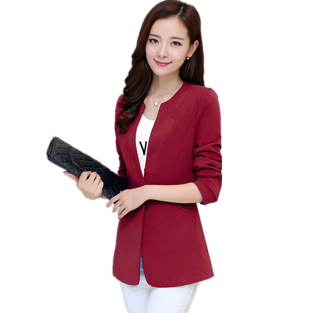 Spring Women Blazer 7 Colors Coat Elegant Suit Jacket Outwear Long Jackets  Blazers Coat Feminino Chaquetas 6c941e482
