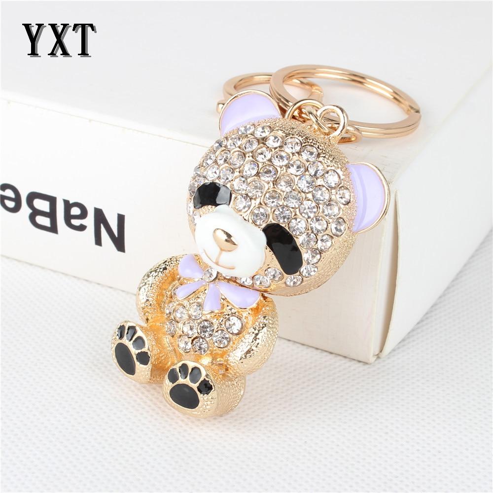 Rhinestone Crystal Keyring Charm Pendant Purse Bag Key Ring Chain Teddy Bear