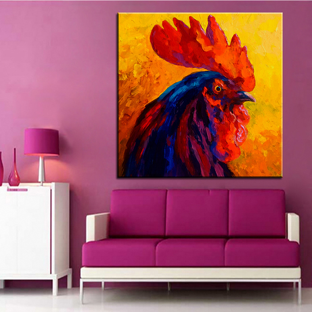 Large size Printing Oil Painting cocky rooster Wall painting ...