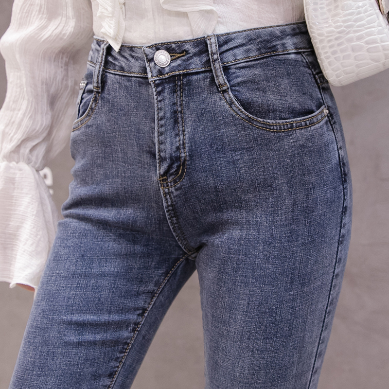 High Waist Women Jeans Flare Pants Tessal Bead Slim Fashion Pants High Waist High Elastic Ankle-Length Denim Trousers 4