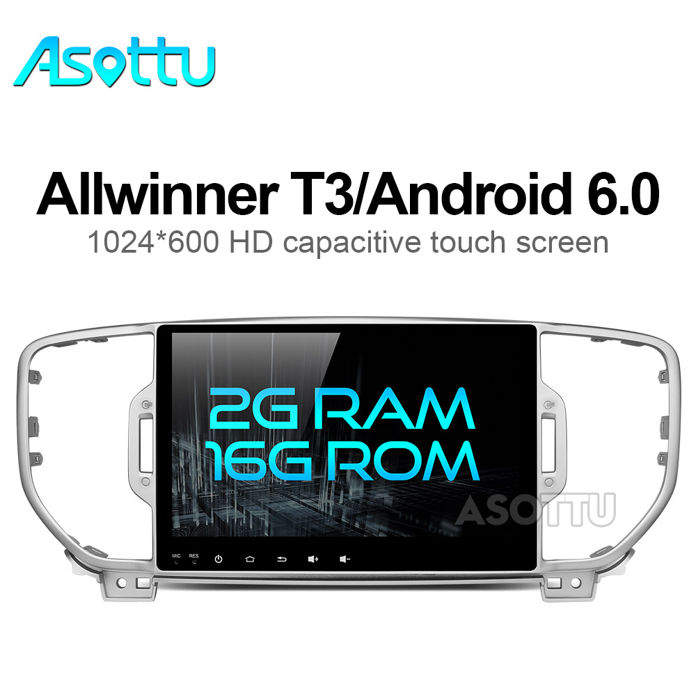 imágenes para 2G + 16G mutilmedia Android 6.0 del coche dvd gps reproductor de dvd para KIA sportage 2016 2017 pc del coche de navegación gps 1 din estéreo del coche unidad principal