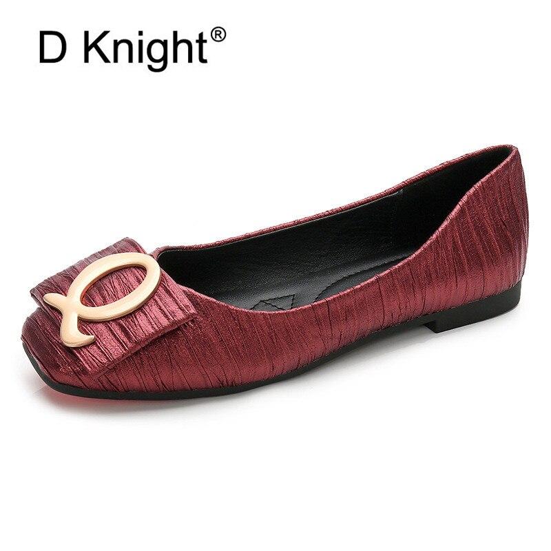 Q Buckle Decoration Designer Women Flats Slip On Wide Fit Shoes Ladies Women Breathable Ballet Black Red Pewter Flats 2019 Shoes