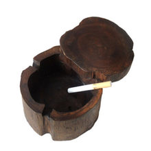 Creative Wood Color Southeast Asia Features Solid Wood Ashtray Personality Wooden With Lid Ashtray Spa Table Decoration Ashtray(China)