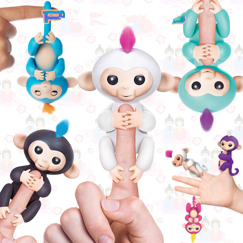 4 Color half-interactive Finger Monkey Pet Toys Toy finger baby monkey touch body it sound and light attention no full function