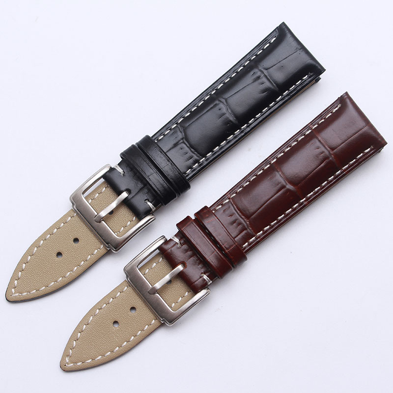 ФОТО High quality 18mm 19mm 20mm 21mm 22mm New Black Genuine Leather Watchband Watch Strap bracelet men With white stitching belts