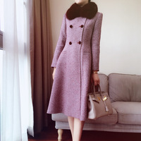 Arlene Sain Custom Women Wine Red Fox Collars Herringbone Snow Wool Long Coat Coat Of Cultivate