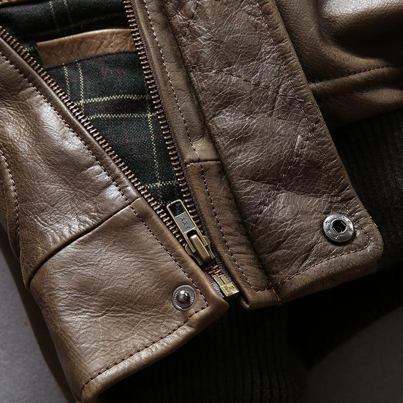 HTB12EN4FAyWBuNjy0Fpq6yssXXaG AVIREX FLY 2018 Genuine Leather jacket Men Bomber Jacket Fur Collar Cowskin Short Air Force Flight Jacke Vintage Winter Coat