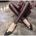 Primavera Otoño de La Manera de Imitación de Cuero Suave de Las Mujeres Leggings Mediados de cintura Estirada Leggings Lápiz Pantalones De Señora Leggings de Encaje