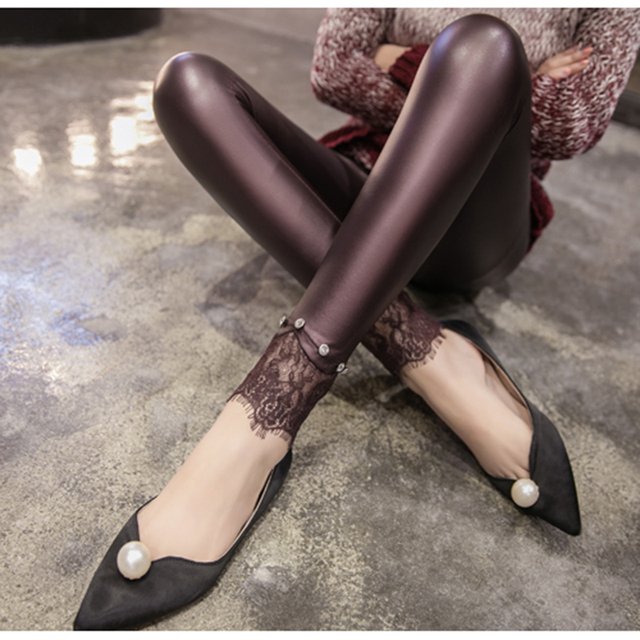 Spring Autumn Fashion Imitation Leather Smooth Women's Leggings Mid-waist Stretched Pencil Leggings Pants For Lady Lace Leggings