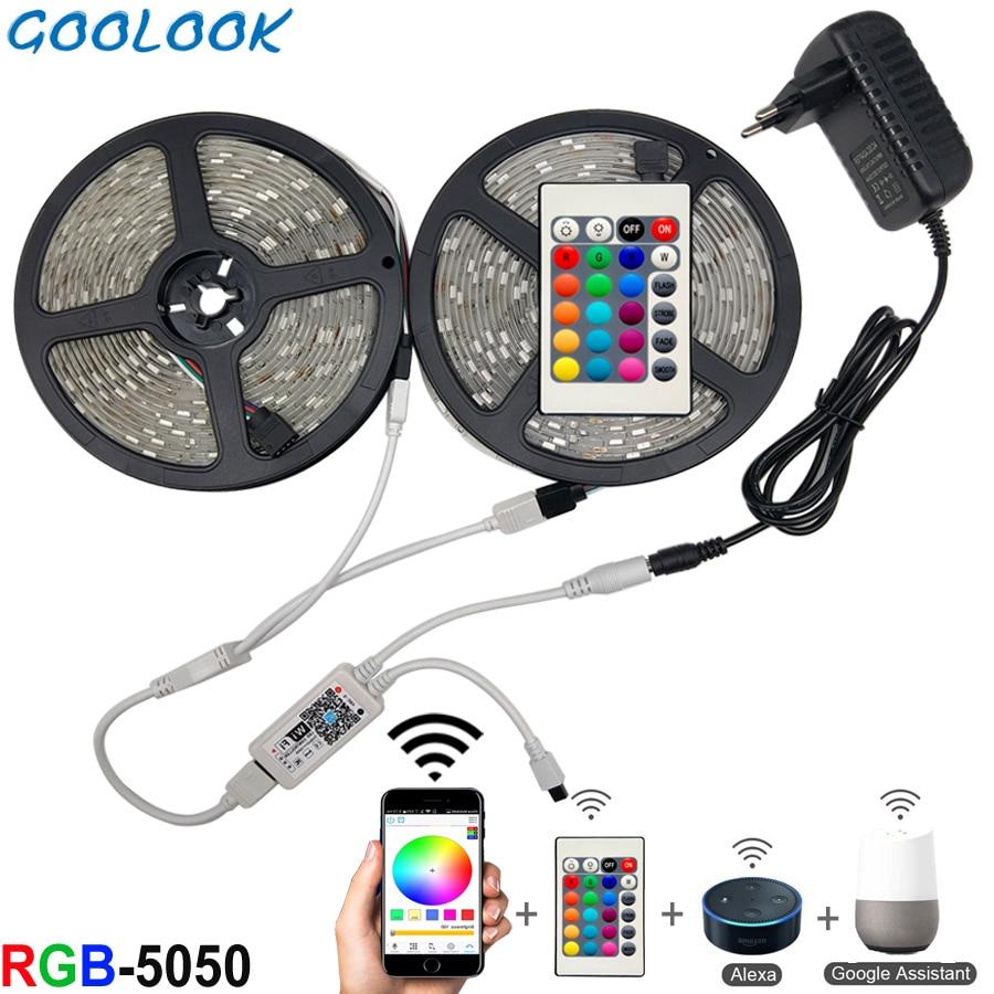 5m 10m 15m Wifi Led Strip Light Rgb Waterproof Smd 5050 2835 Dc12v Rgb String Diode Flexible Ribbon Wifi Contoller+Adapter Plug