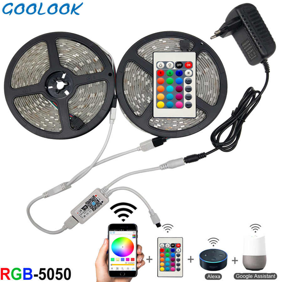 5 M 10 M 15 M Wifi LED Lampu Strip RGB Tahan Air SMD 5050 2835 DC12V RGB String Diode Fleksibel pita Wifi Contoller Video + Adaptor Plug