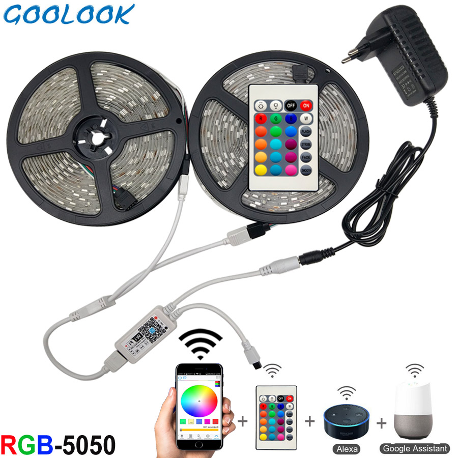 5 M 10 M 15 M WIFI LED Strip Light RGB กันน้ำ SMD 5050 2835 DC12V RGB String ไดโอดแบบยืดหยุ่นริบบิ้น WiFi Controller + ปลั๊กอะแดปเตอร์