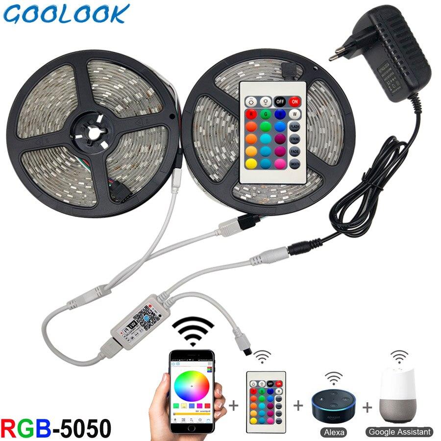 5m 10 15m wifi led luz de tira rgb impermeável smd 5050 2835 dc12v rgb corda diodo fita flexível wi-fi contoller + adaptador plug