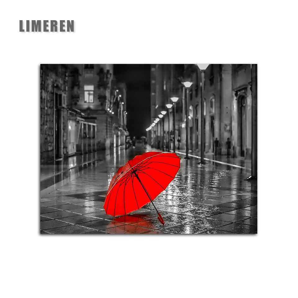 Unframed Street Red Umbrella Black And White  Painting By Numbers Realistic Street View Coloring By Numbers