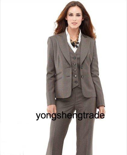 Women Suit Gray Suit Women Business Suits Custom Women Suits Jacket+Vest+Pants 450