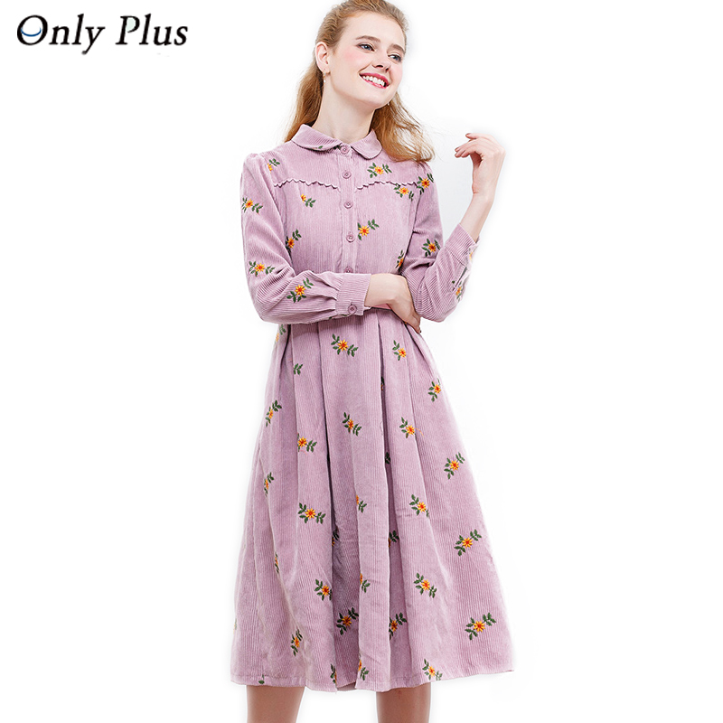 Only Plus Fashion Corduroy Winter Dresses A Line Embroidery Pink Causal Women Dress For Warm