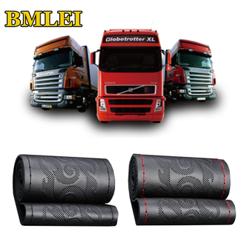 Truck Bus Car Steering wheel Cover DIY 42/45/47/50cm Steering Wheel Wrap Braid on the Steering wheel Genuine Leather Interior