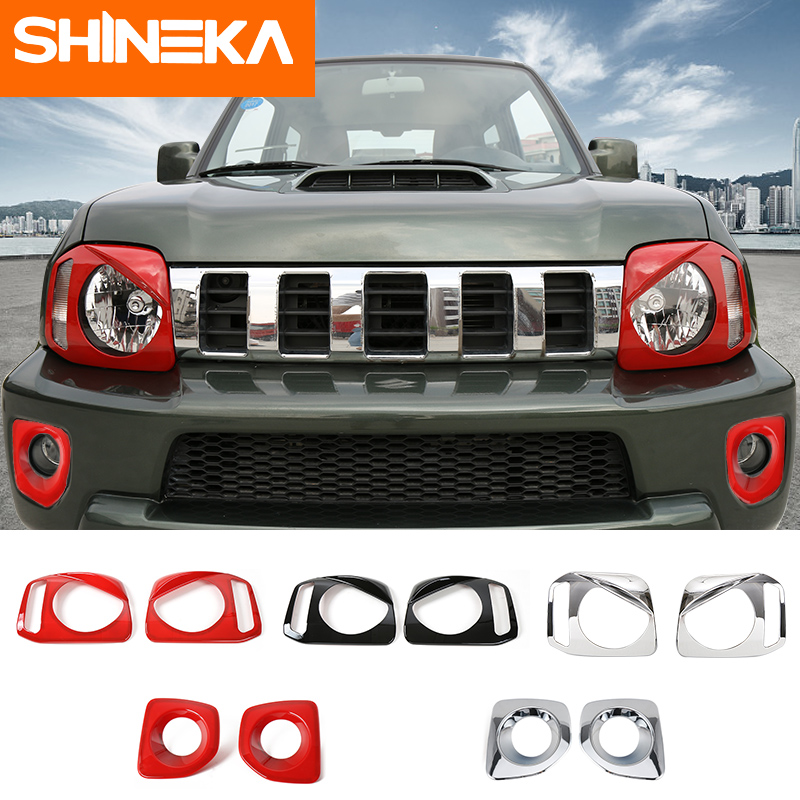 SHINEKA Car Stickers For Suzuki Jimny 2007-2017 ABS Car Front Fog Light HeadLight Lamp Protection Cover Sticker For Suzuki Jimny