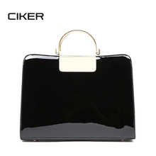 CIKER Patent Bags Vintage Black Red High Quality Solid PU Leather Women Handbags Totes Top Metal Handle Bags Bolsa Girls Sac