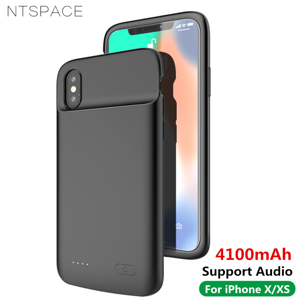 NTSPACE 4100mAh Liquid Silicone Shockproof Battery Charger Cases For iPhone X XS Power Bank Charging Case External