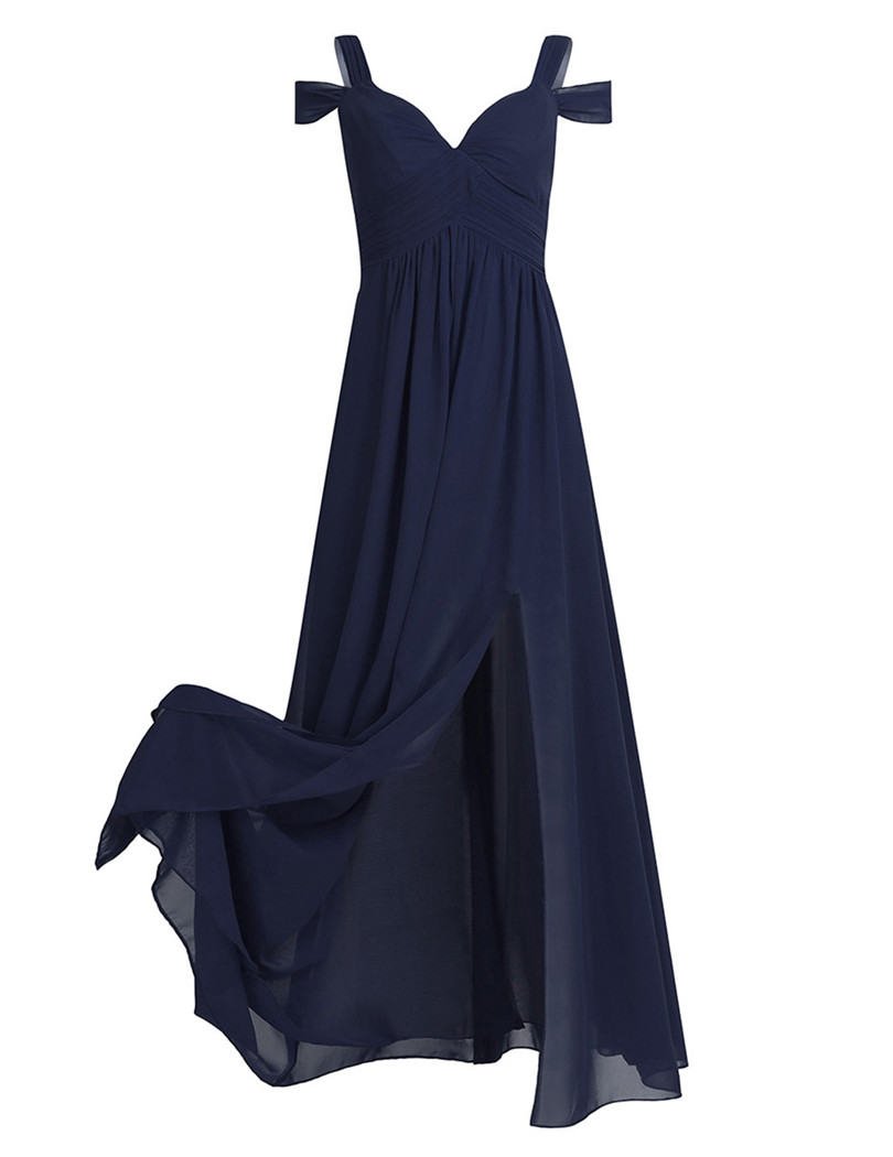 Navy Blue Burgundy Chiffon Off-the-shoulder Long Bridesmaid Dress