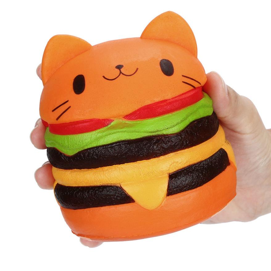 IUN Jumbo Cartoon Cat Hamburger Scented Slow Rising Exquisite Kid Soft Toy 4.2