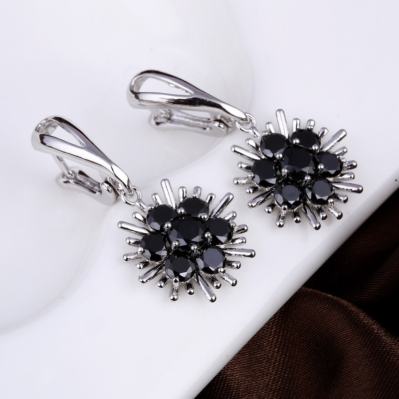 Jewelry Fashion Drop Earrings brincos Cute Flower Pendientes Stone Black Crystal Dangle Earrings For Women Party Free Shipping