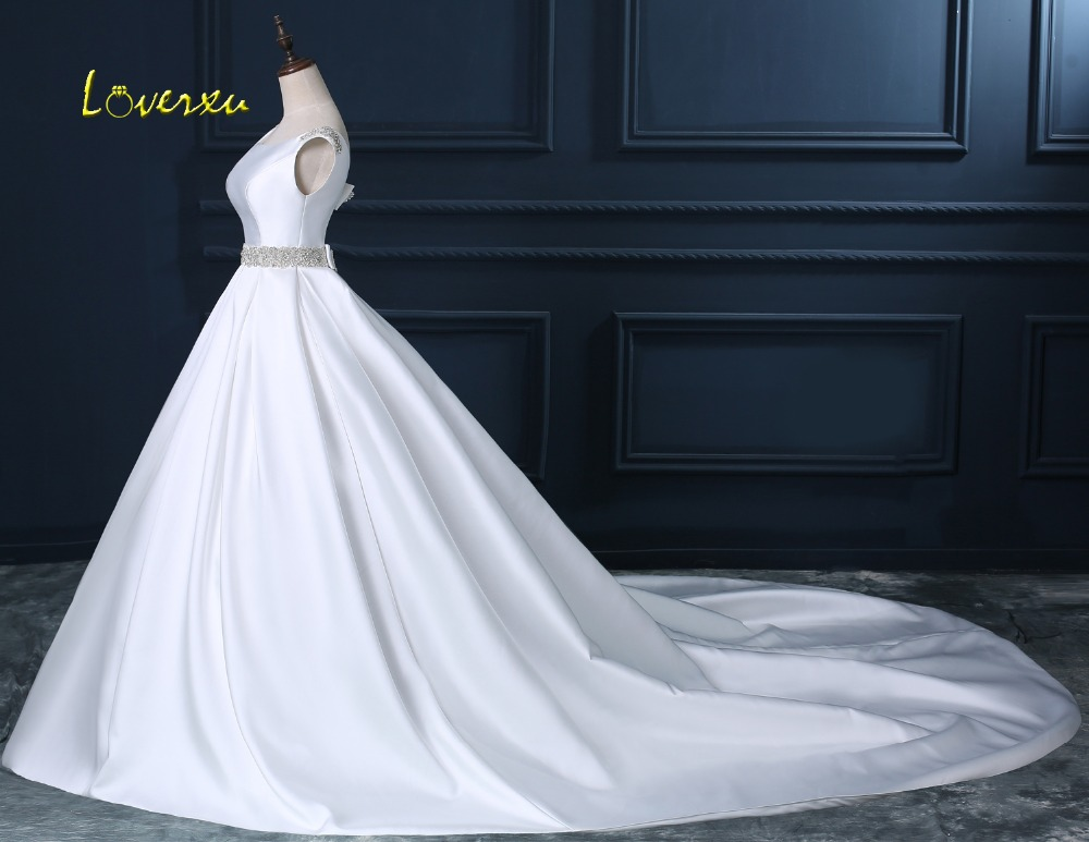 Beaded Sashes Pearls A-line Sleeveless Satin Vintage Wedding Dress