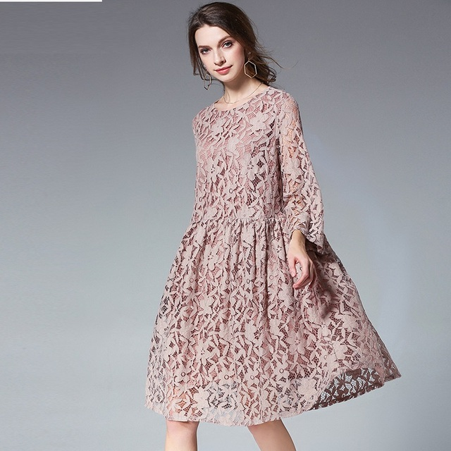 2018 Spring Summer fashion ladies Casual loose Lace Dress Female empire  flare Dress knee-length elegant vestidos plus size XXXXL 0436ca34d670