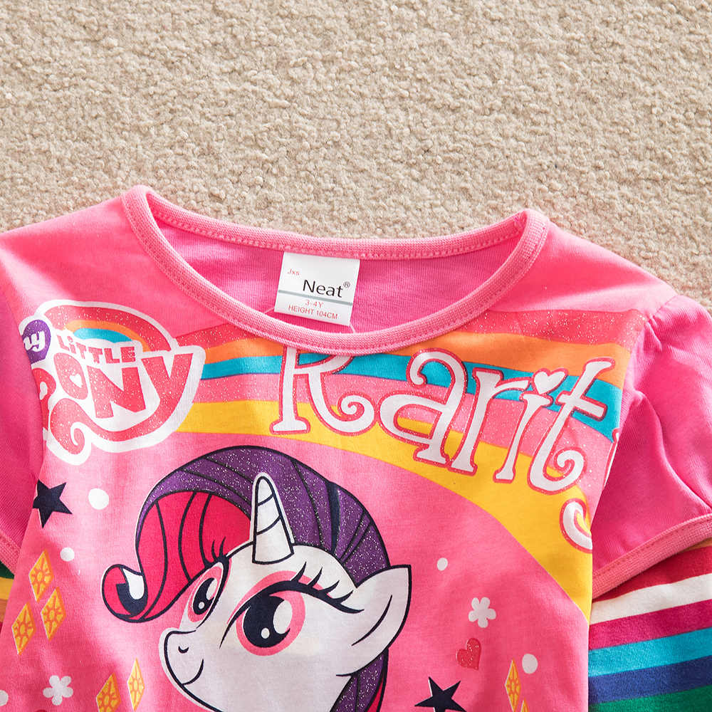 JUXINSU Benim Küçük Kızlar Pony Karikatür pamuklu uzun kollutişört T-shirt Gökkuşağı Çizgili Sonbahar Kış Kız Rahat gömlek 1-8 Yıl