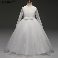 Full Lace Sleeve Wedding Party Dresses For Big Flower Girls Bridesmaid Vestido Kids Girl Bow Evening