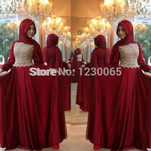 Custom 2015 Caftan Lace Appliques Burgundy Hijab Underscarf Dubai Kaftan Moroccan Muslim Evening Dress Long Sleeve