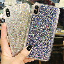 Heyytle Bling Glitter Pailletten Telefoon Case Voor iPhone 7 8 6 6 s Plus X XS Max XR Crystal Cases soft TPU Back Cover Coque 8 Plus Case(China)