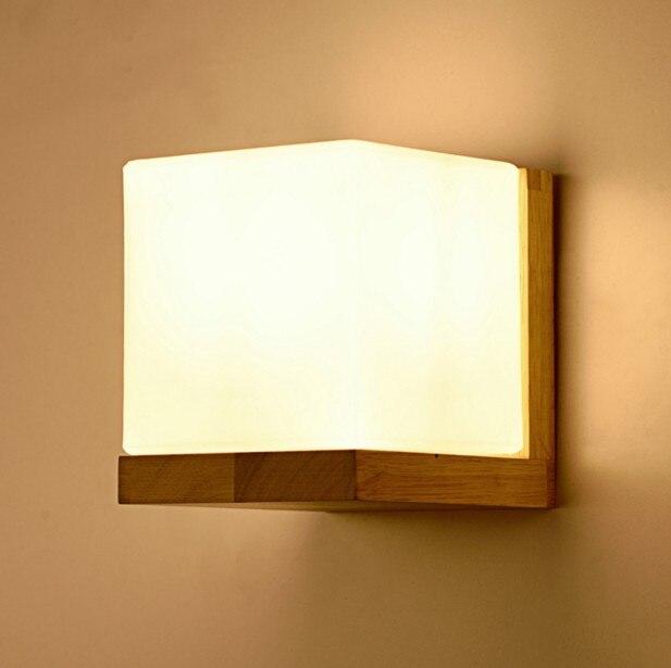 Moderní dřevěné nástěnné světlo minimalistické ložnice noční lampičky uličky čínské obývací pokoj kreativní nástěnné svítidlo
