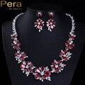 Luxo De Noiva Russa Ruby Red CZ Diamante Jóias Acessórios Big Flor Conjunto Colar De Noiva Brincos Conjuntos Para Noivas J124