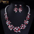 Luxury Russian Wedding Ruby Red CZ Diamond Jewelry Accessories Big Cluster Flower Bridal Necklace Earrings Sets For Brides J124