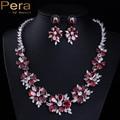 Ruso de lujo Rojo Rubí CZ Diamond Joyería Accesorios Gran Racimo de Flores de Boda Nupcial Conjuntos Collar Pendientes Para Novia J124