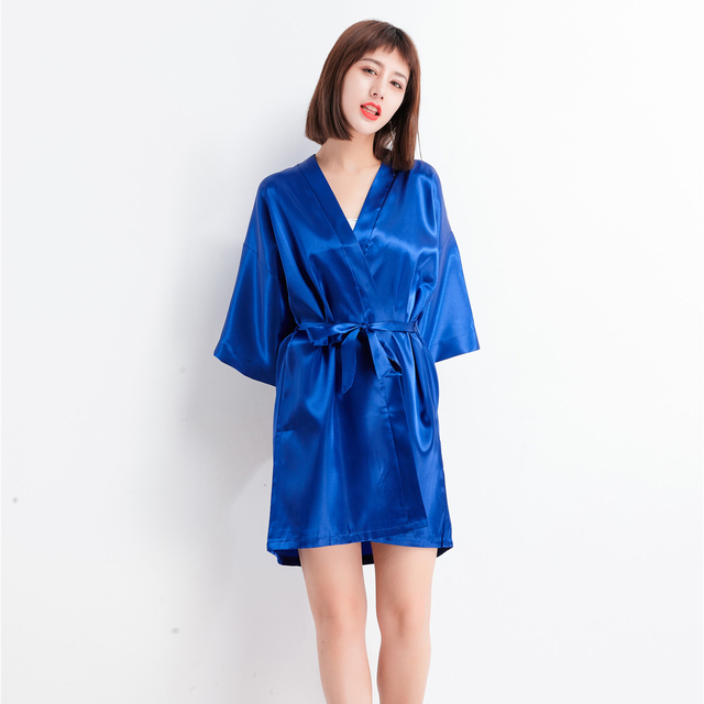 8862dffcfb Hot Sale Solid Women Faux Silk Robe Dress Summer New Sleepshirt Casual  Nightgown Kimono Bath Gown Elegant Wedding Robes S0123