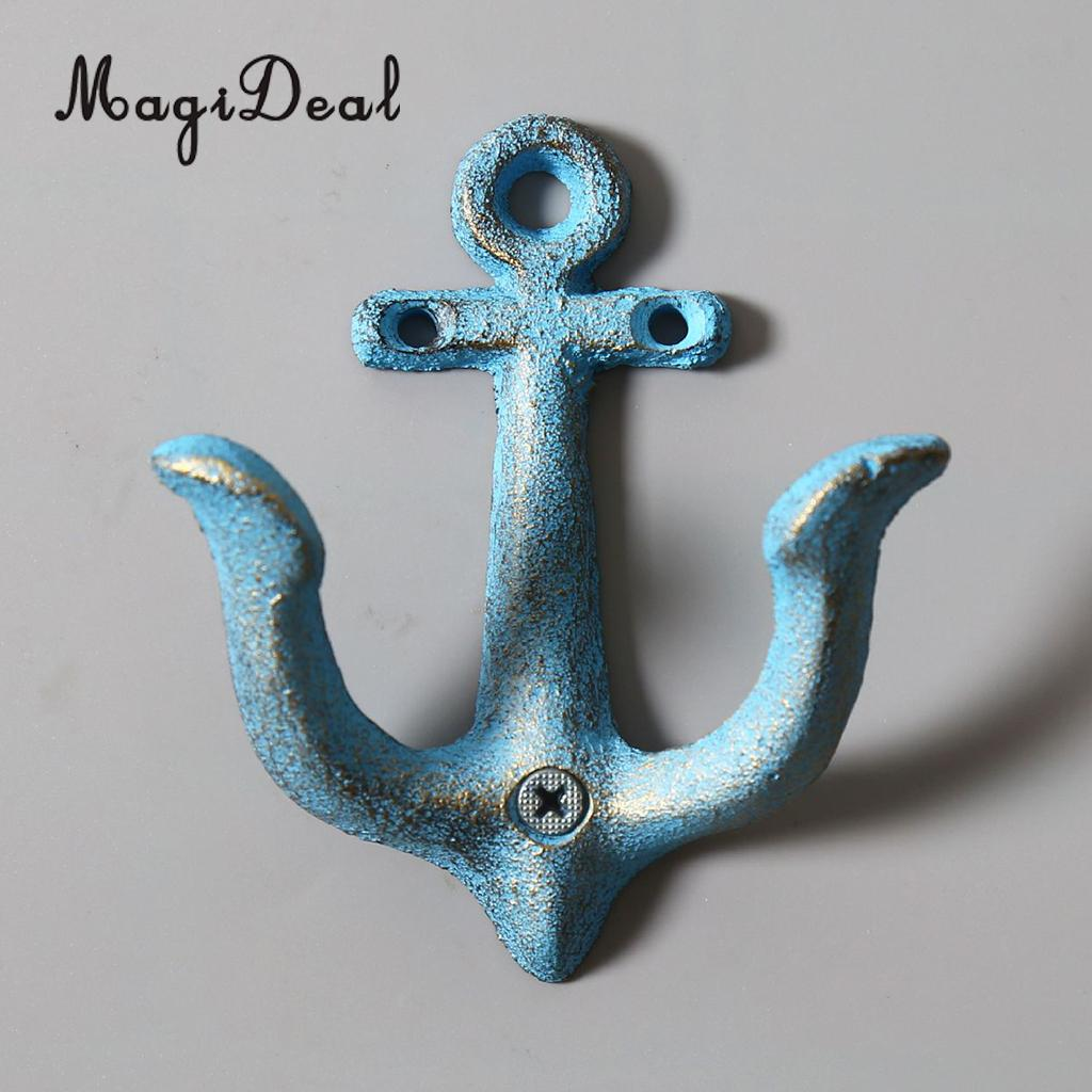 MagiDeal Metal Anchor Hooks Wall Door Mounted Clothes Towel Hat Key Hanger Whiteandcrafted classic antique decorative wall hook