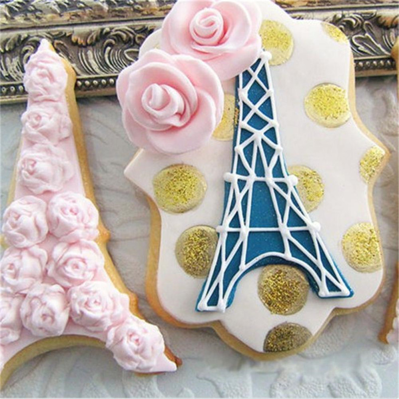 1 Pcs Resuable Metal Cookie Biscuit Cutter Creative Paris Tower Cross Sushi Biscuit Cake salad Mold Kitchen Accessories
